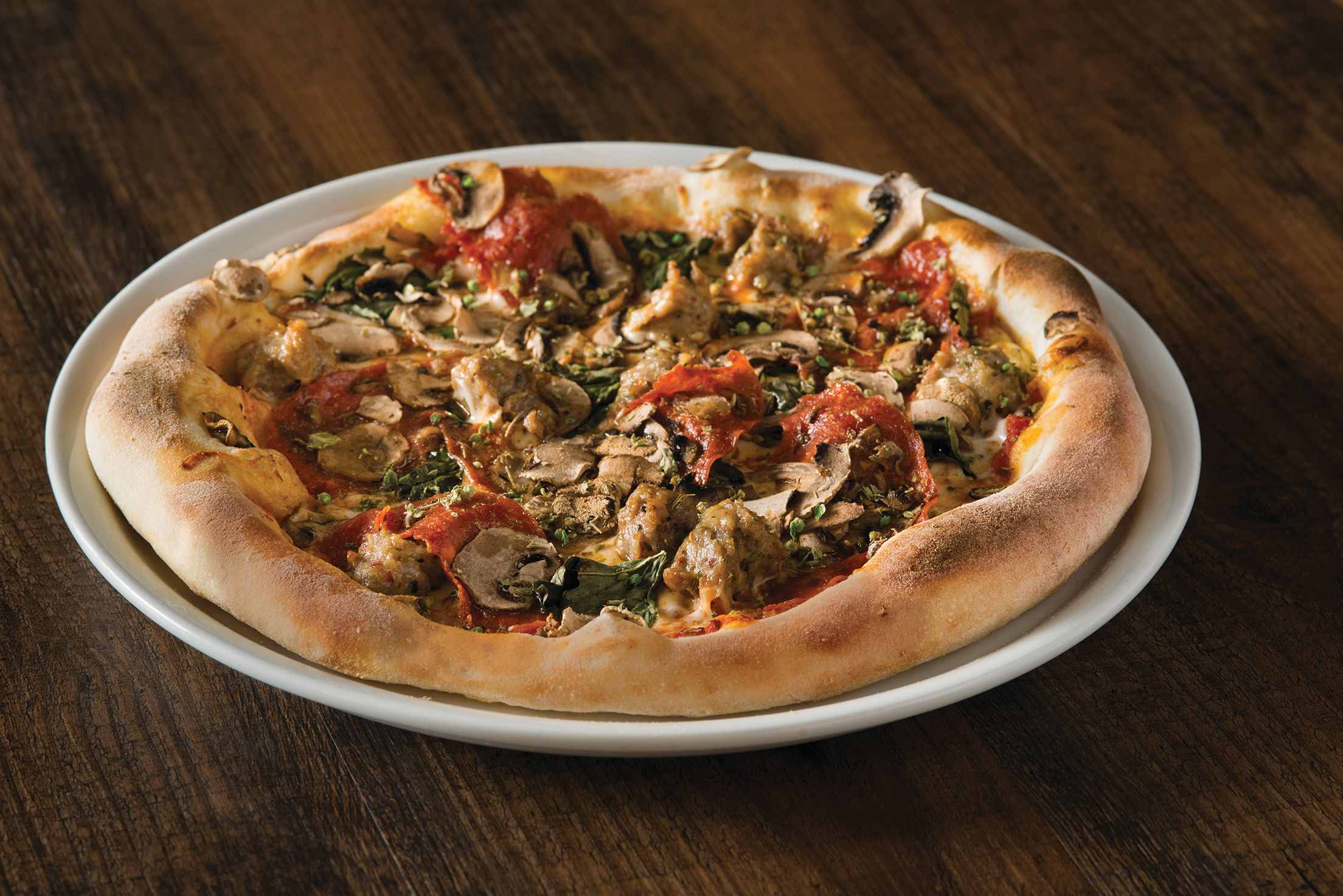 mushroom pepperoni sausage pizza on hand-tossed dough! | cpk