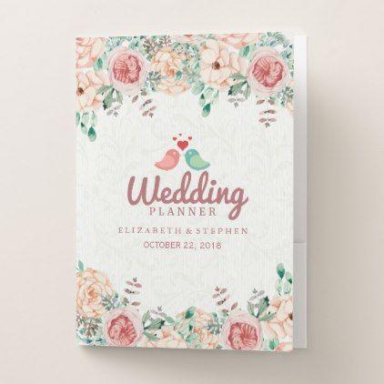 Chic Watercolor Floral Gold Script Wedding Planner Pocket Folder