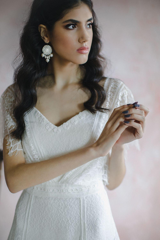Boho wedding dress with short sleeves vneck vback lace