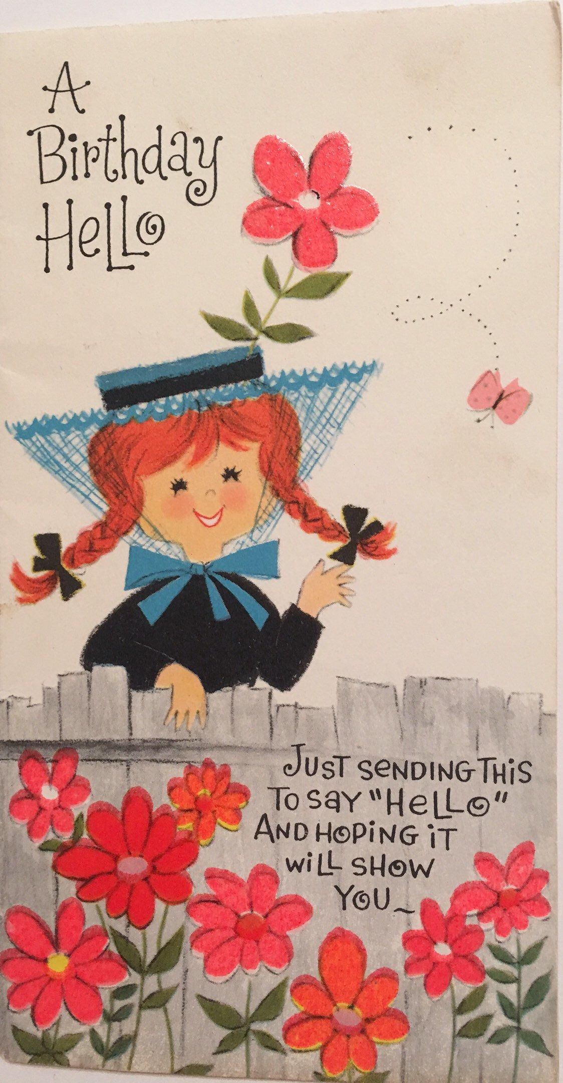 Excited To Share This Item From My Etsy Shop Vintage Birthday Card 1960s Red Headed Girl Flower Power Unused NOS