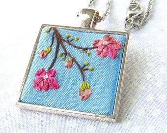 cherry blossom ribbon embroidery necklace pink flowers green french knots