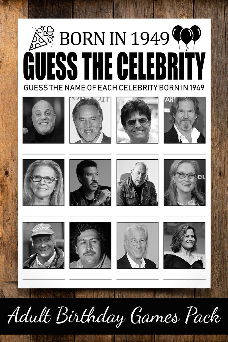Guess Celebrity Game Birthday Games For Adults Adult Birthday Games Funny Birthday Games Birthday Games For Adults 50th Birthday Games