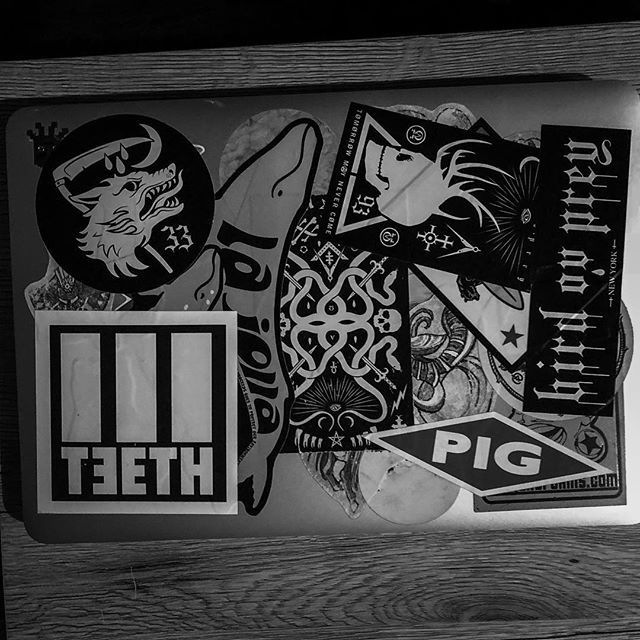 My laptop case is 50 band and travel stickers and 50 birdovprey stickers