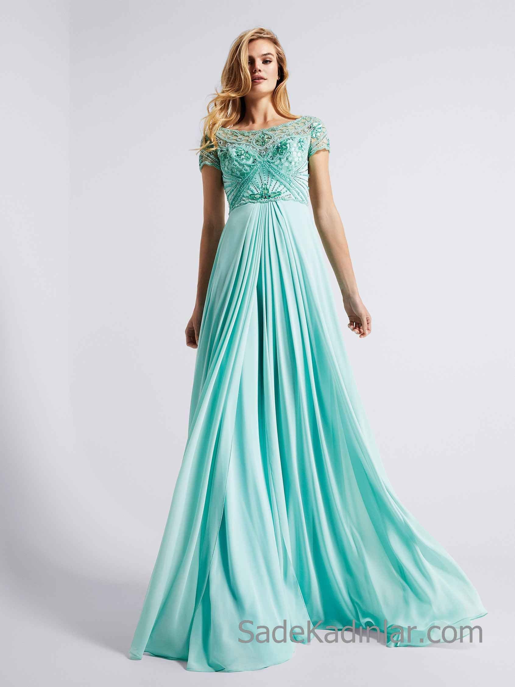 Pronovias 2020 Abiye Elbise Modelleri Su Yesili Uzun Kisa Kollu Kayik Yaka Boncuk Islemeli Balo Elbiseleri Balo Elbisesi Kisa Etekli Elbiseler