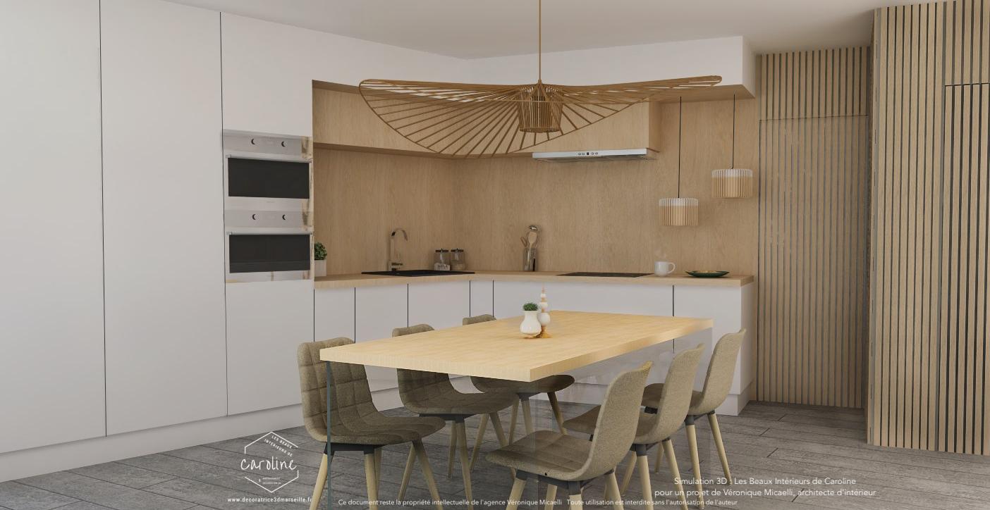 Simulation 3d cuisine dinatoire contemporaine monobloc Simulation plan cuisine