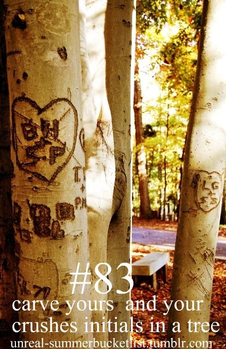 Before I die bucket list bucket-list Carve yours and your crushes initials in a tree