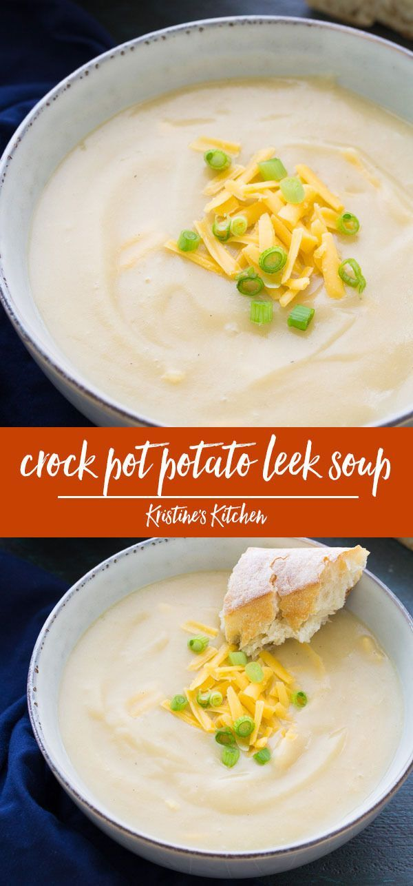 Slow Cooker Potato Leek Soup with Cheddar #healthycrockpots