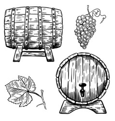 Set Of Wooden Wine Barrels Grape Grape Leaf Wine Art Grape Vineyard Wine Logo Design