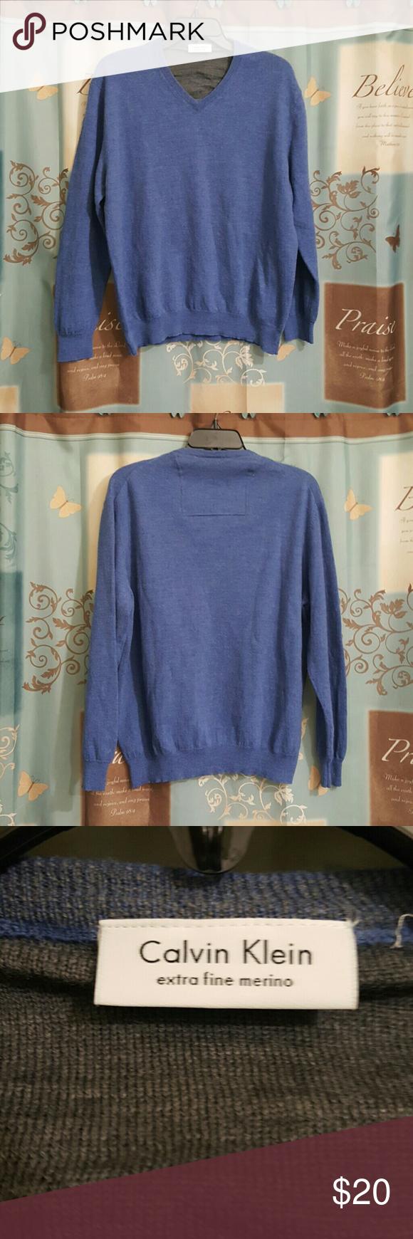 Calvin Klein blue sweater Calvin Klein blue sweater.   100% Merino wool Excellent condition Calvin Klein Sweaters