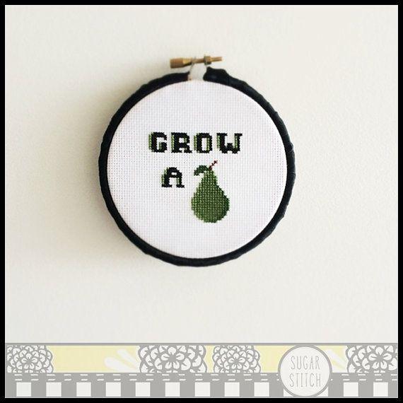 Grow a Pair Cheeky Cross Stitch Pattern  by SugarStitchbyEllie