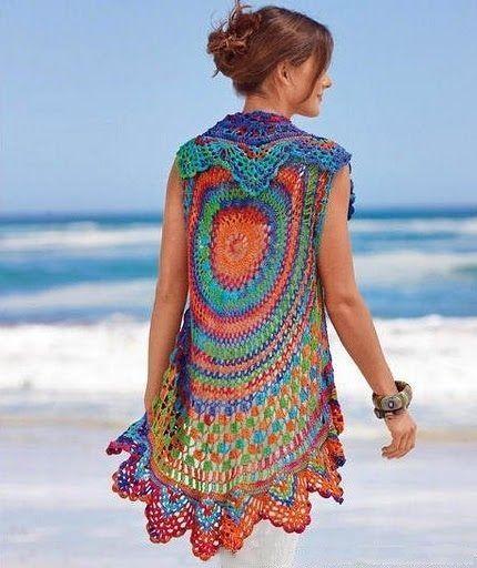 Chaleco Redondo al Crochet – Con Patrones | Chaleco | Pinterest