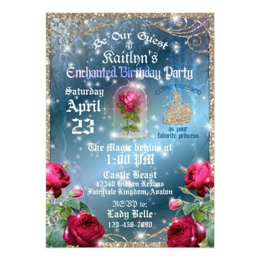 Beauty And The Beast Red Rose Enchanted Birthday Card Nou Designs