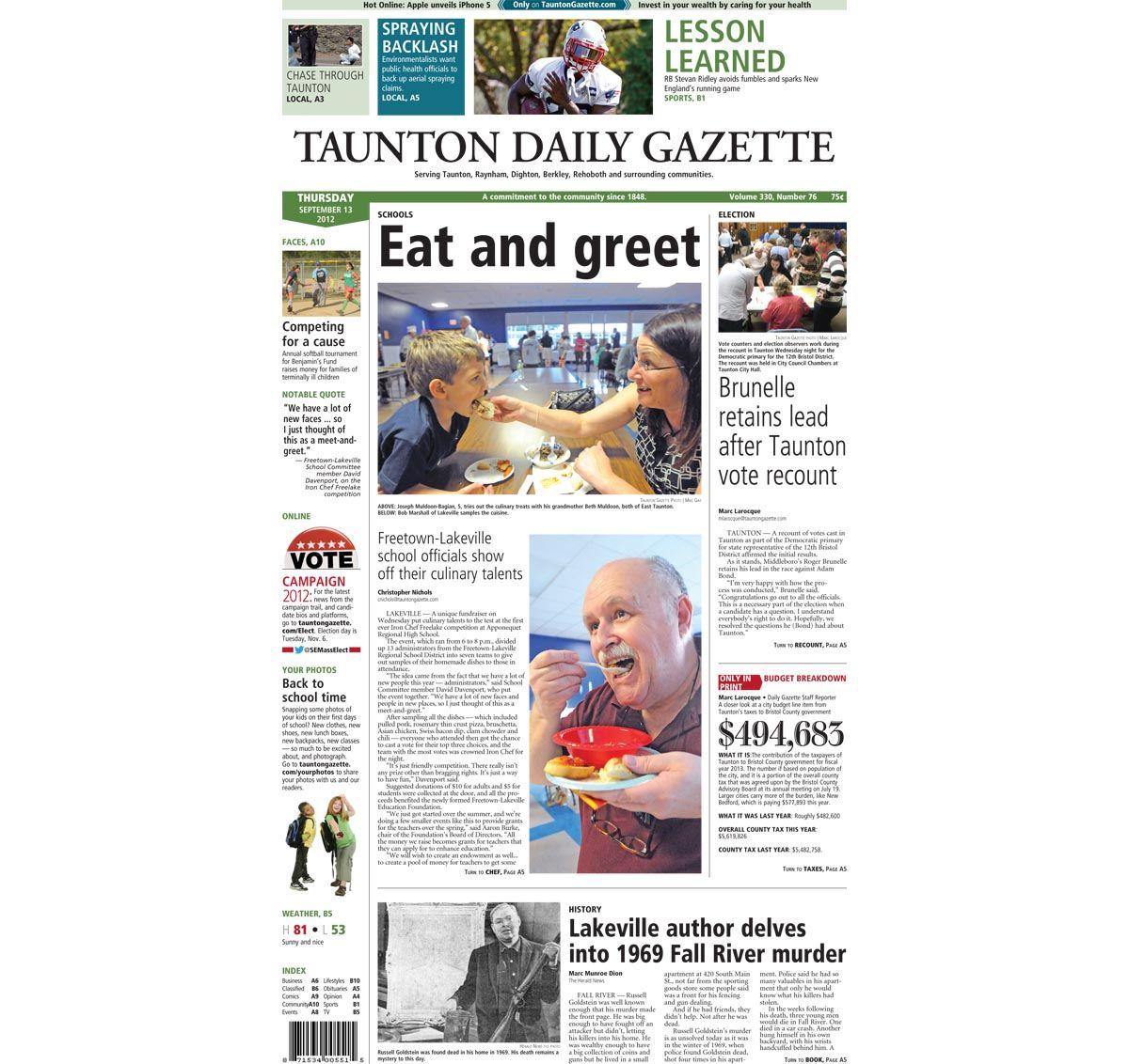 #TauntonGazette #FrontPage for Thursday, Sept. 13, 2012