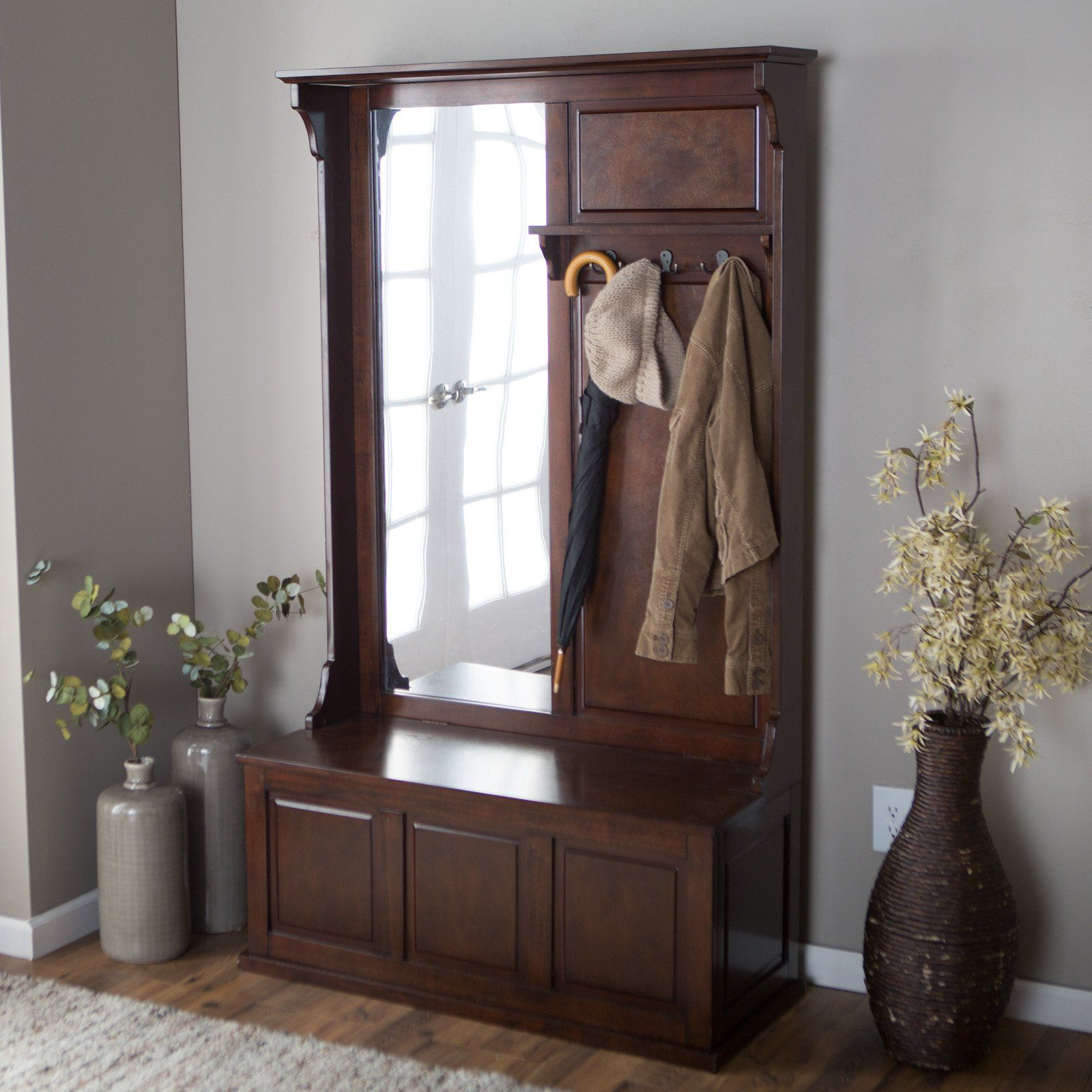 Delightful ... Keep Your Entryway Or Mudroom Organized And Attractive With The Belham  Living Lynden Hall Tree With Vertical Mirror. Beautiful Wood Construction In  A .
