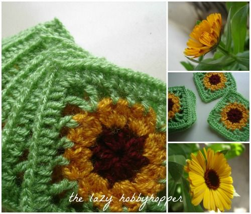 The Lazy Hobbyhopper: Gloriosa daisy square - placemat and coasters