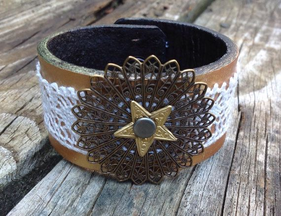 leather cuff by candymtnart on Etsy