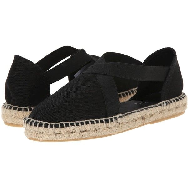 rsvp Jada (Black Lona) Women's Slip on  Shoes ($35) ❤ liked on Polyvore featuring shoes, sandals, black, black slip on shoes, rope sandals, black shoes, closed toe strappy sandals and black slip on sandals