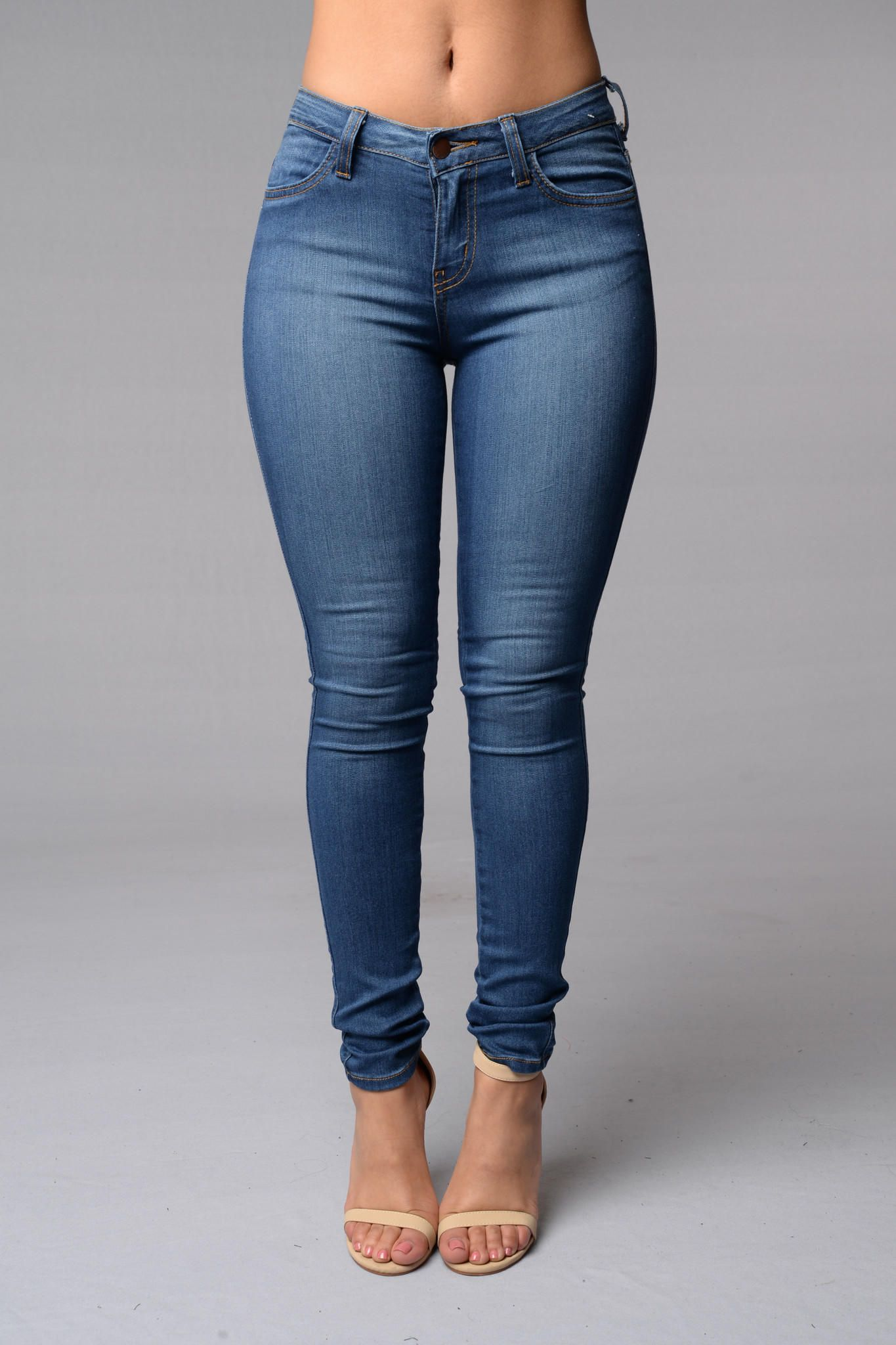 37313c34d66e Classic Mid Rise Skinny Jeans - Medium Blue from Fashion Nova. Saved to .  Shop more products from Fashion Nova on Wanelo.