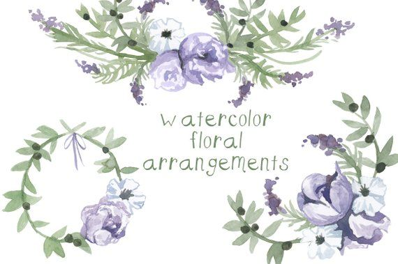 Watercolor Purple Flower Clipart Flowers Clip Art Digital Clipart