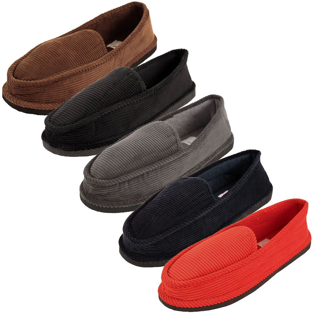 08f38adaa91 Mens Slippers House Shoes Corduroy Color Slip On Moccasin Comfort Indoor  Outdoor