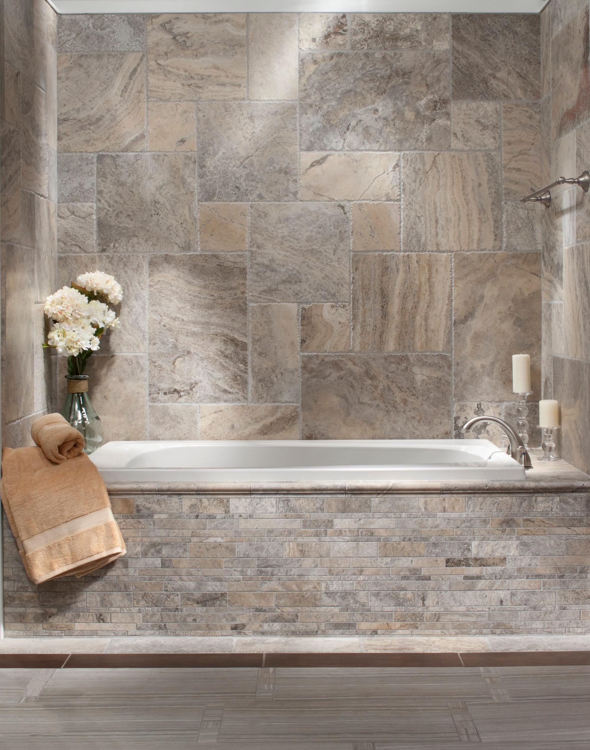argento brushed travertine tile floor