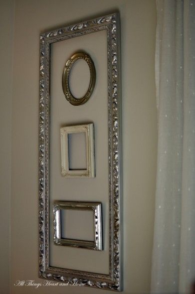 Decorating with empty vintage frames, inside of a frame!