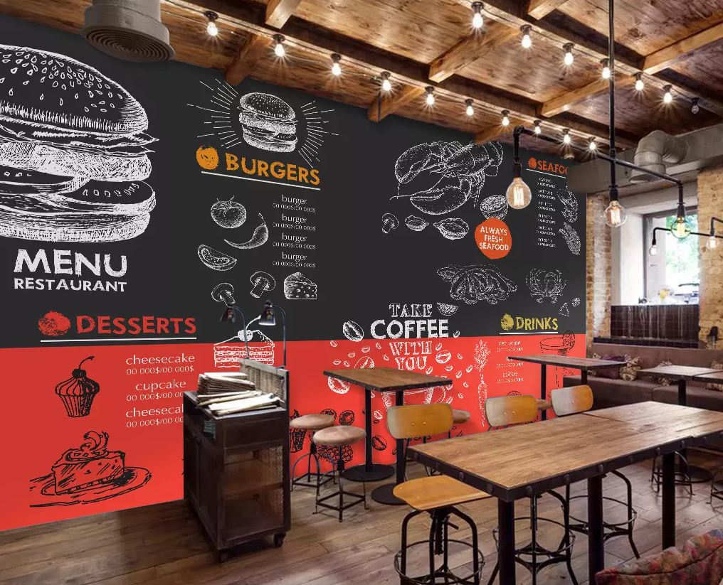 Customize Wall Mural Restaurant Decor Cafe Design Cafe Decor