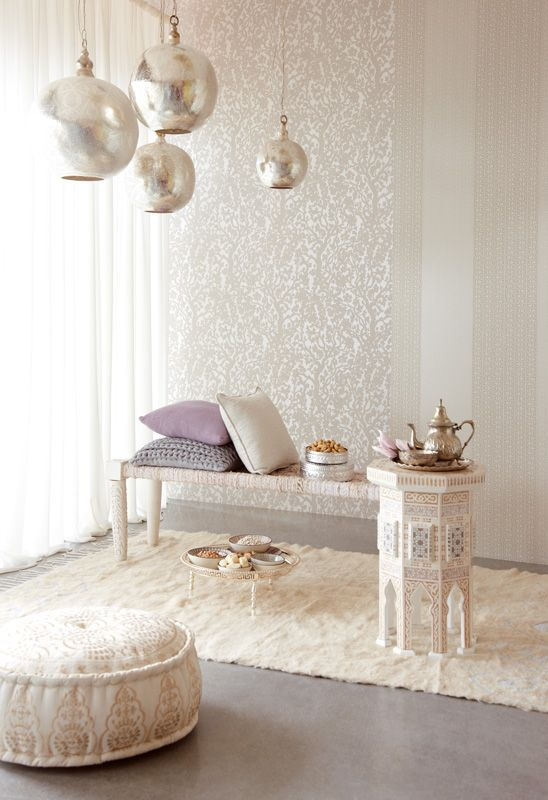 White and silver moroccan style wallpaper and lamps - Interior design for living room and bedroom ...