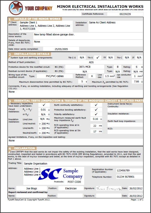 Electrical Minor Works Certificate Template 8