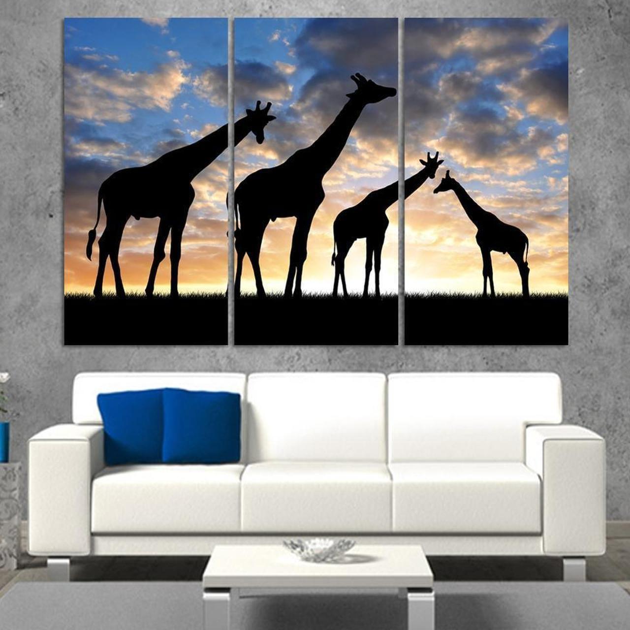 3pcs set abstract african landscape animal giraffe full