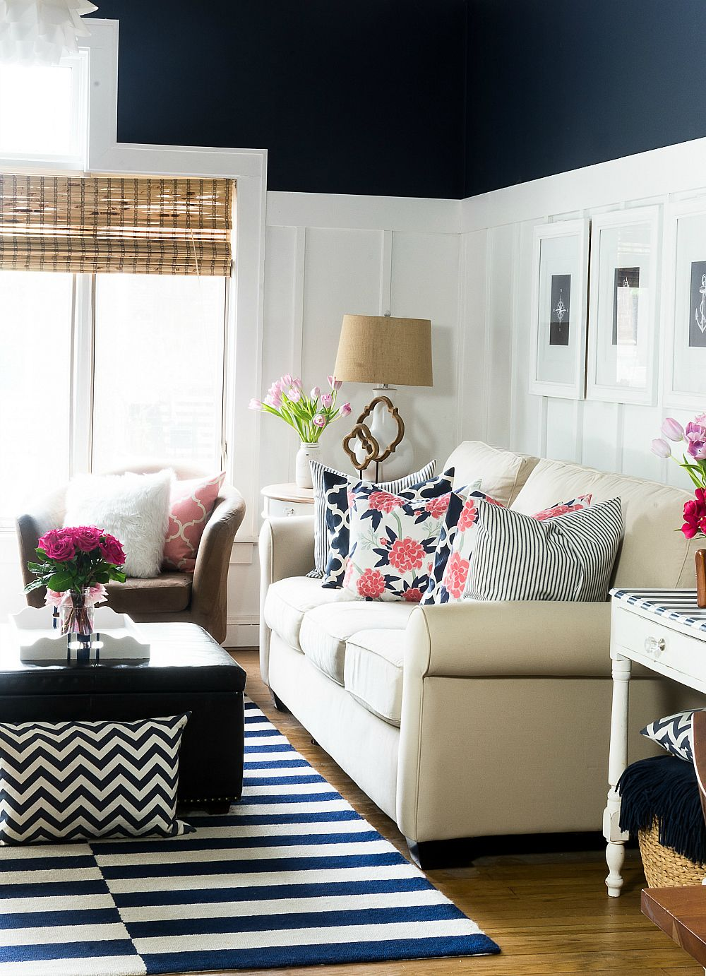 Pink and Navy Living Room - It All Started With Paint  Living