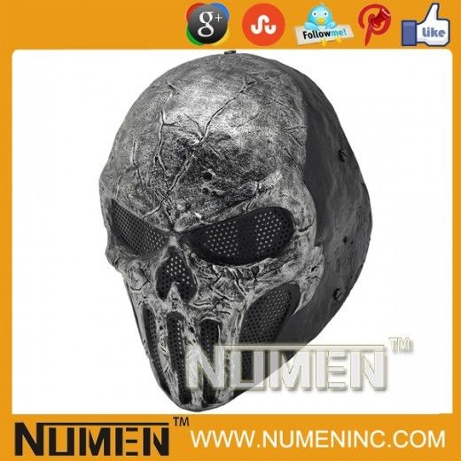 Call Of Duty 10 Cod Ghosts Logan Balaclava Ski Skull Hood: Full Face Gray Skull Punisher Wire Mesh Airsoft Army Of