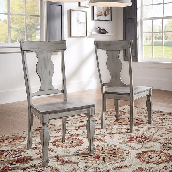 Eleanor Grey Two Tone Square Turned Leg Wood Dining Chairs Set Of 2 Farmhouse