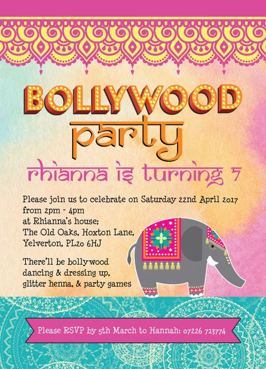 Bollywood Children S Party Invitation