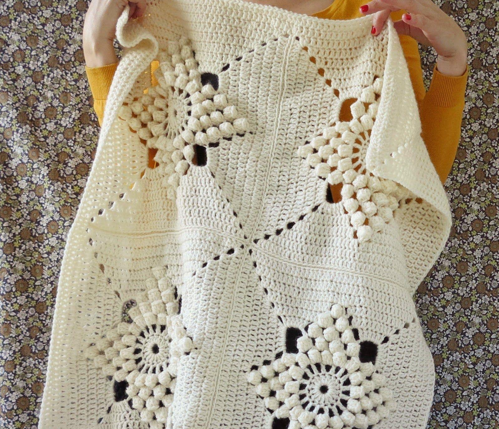ByHaafner, crochet, vintage pattern, popcorn stitch, granny square ...