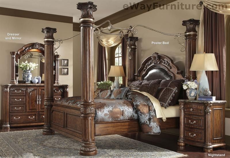 Cafe Noir King Poster Canopy Bedroom Set Master Bedroom Furniture Leather Wood & Cafe Noir King Poster Canopy Bedroom Set Master Bedroom Furniture ...
