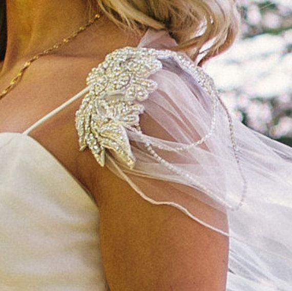 Bridal Cape Veil Wedding Diamante Tulle Shawl Long Vintage Winter Custom Made