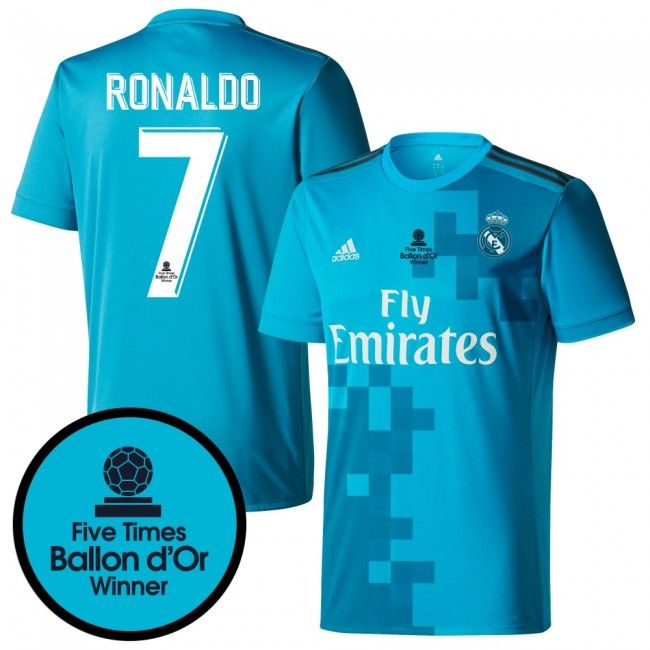 Camiseta del Real Madrid 2017-2018 3era + Ronaldo 7 (Dorsal 5 veces Ballon