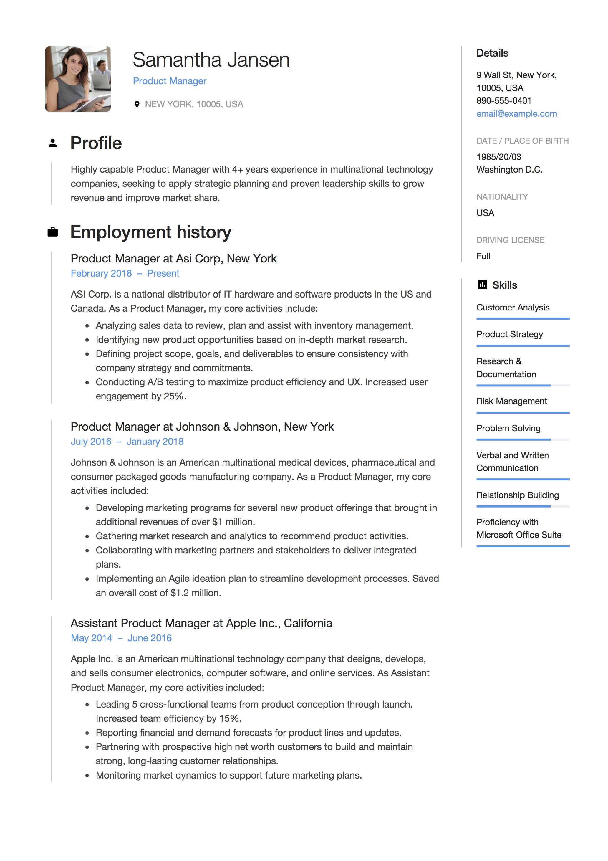 Example Of A Cv Product Manager Resume Sample Template Example Cv Formal Design .