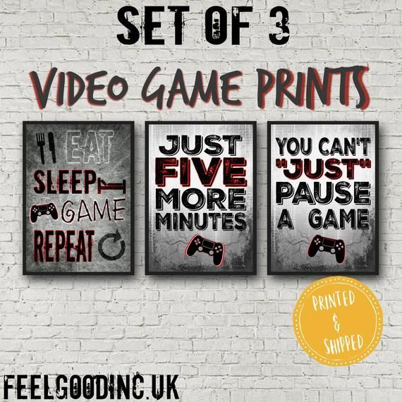 PLAYSTATION POSTERS, Red Set, Video Game Quotes, Video Game Posters, Video Game wall decor, Game room, Teenage bedroom, gift for gamer, PS4  -  #Bedroom #decor #game #Gamer #Gift #Playstation #Posters #PS4 #Quotes #red #room #set #Teenage #video #videogamesquotes #Wall