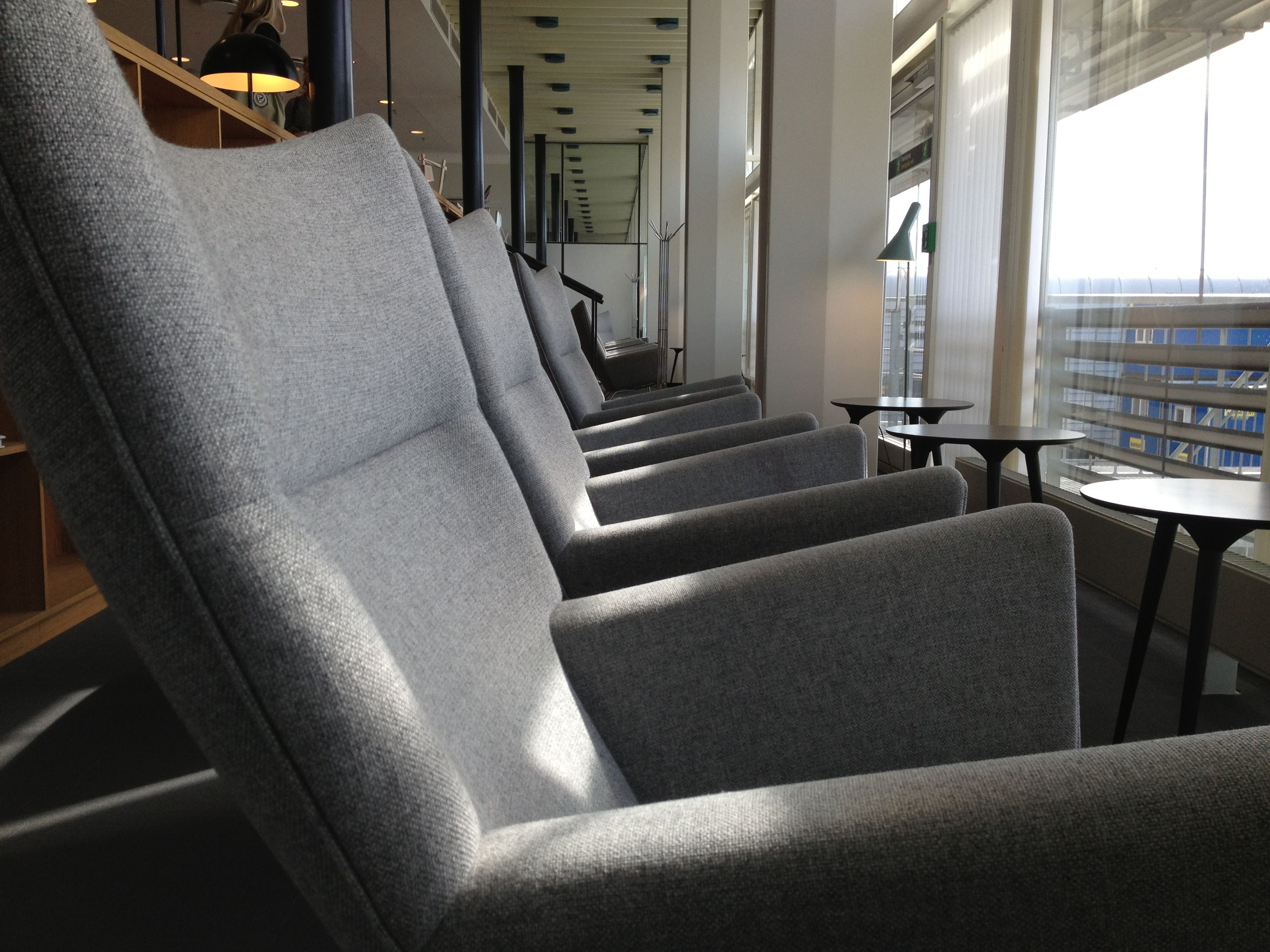 CPH Apartment Lounge in Copenhagen Airport. Relax, have a cup of coffee and a danish - and enjoy the view over the apron from the comfortable Carl Hansen CH445 Wingchair :)