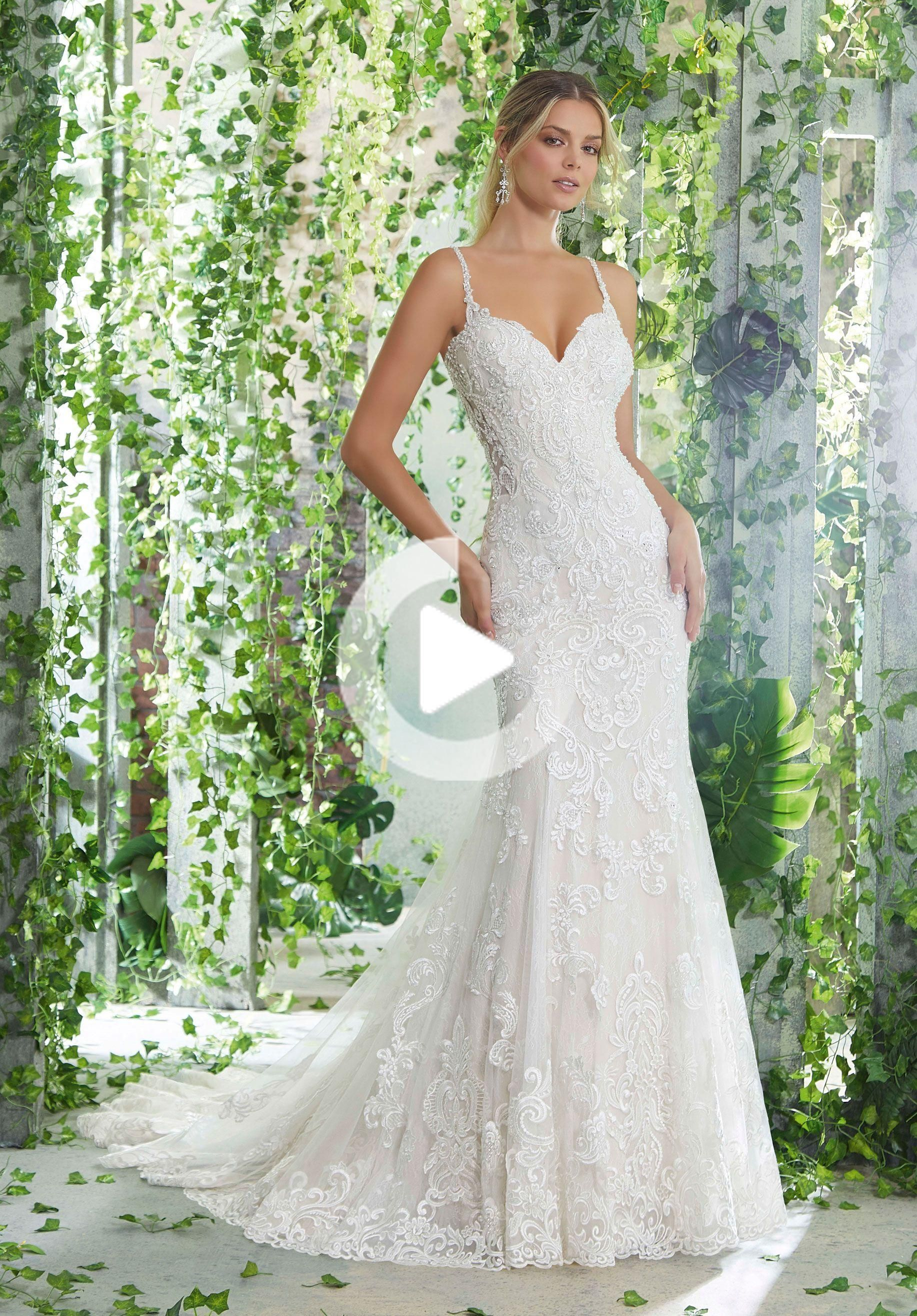Morilee | Madeline Gardner, Pallas Style 1727 | Crystal Beaded Straps and Embroidered Appliqués on a...