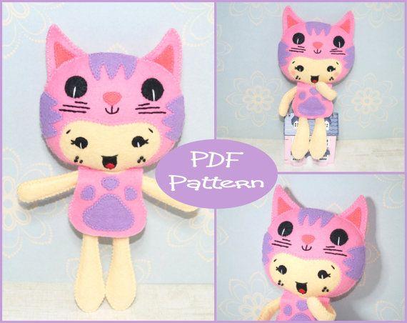 PDF Pattern Kitty Girl, Felt Doll Pattern, Felt Cat, Cat