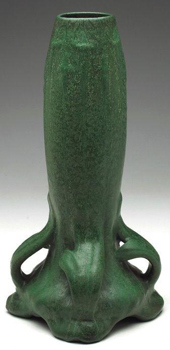 "Weller vase with four handles at bottom, green matte glaze, unmarked, 8""w x 14.5""h"
