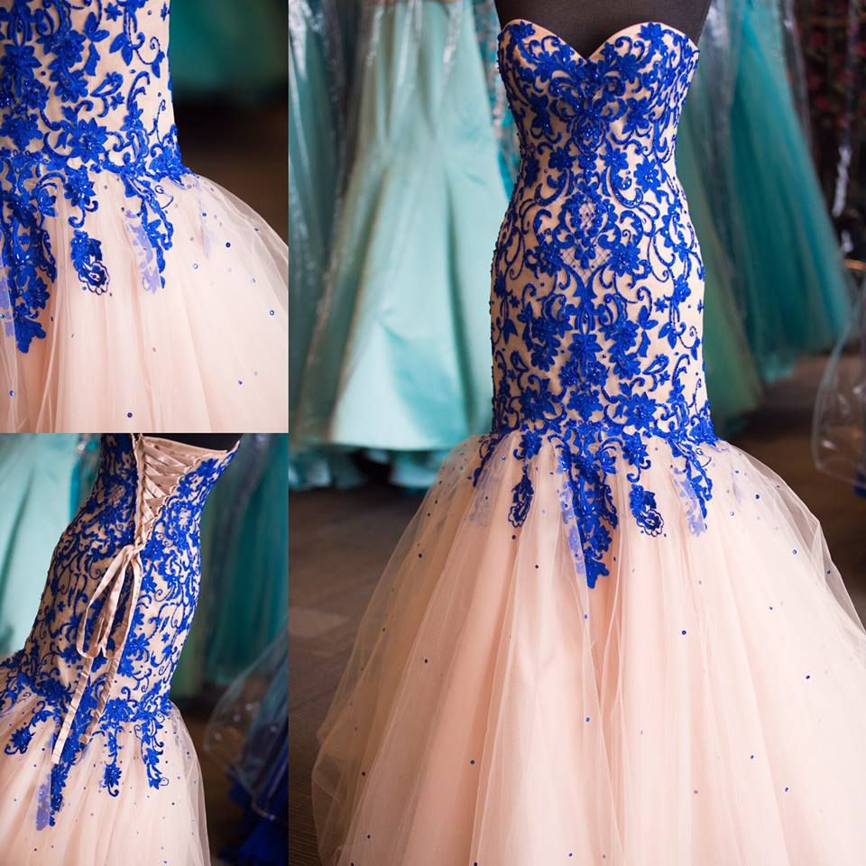 Nude Tulle Royal Blue Embroidery Prom Dresses,Strapless Formal ...