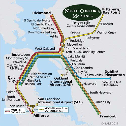 Getting To Napa Valley Wine Train Napa Valley Wine Train Bart San Francisco Bay Area Rapid Transit Bart Map