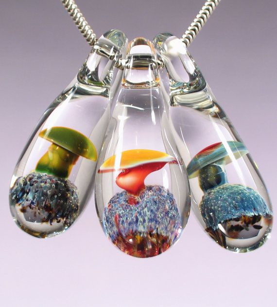 Glass pendant lampwork mushroom bead wholesale lot of 3 boro glass pendant lampwork mushroom bead wholesale lot of 3 boro necklace focal handmade jewelry supplies by aloadofball Choice Image
