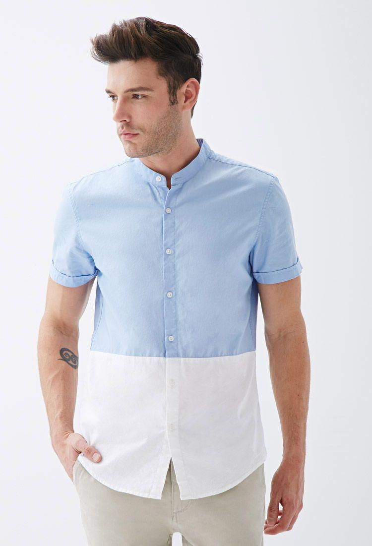 56939f0b7059e2 Colorblocked Mandarin Collar Shirt - Shirts   Polos - 2000118206 - Forever  21 EU