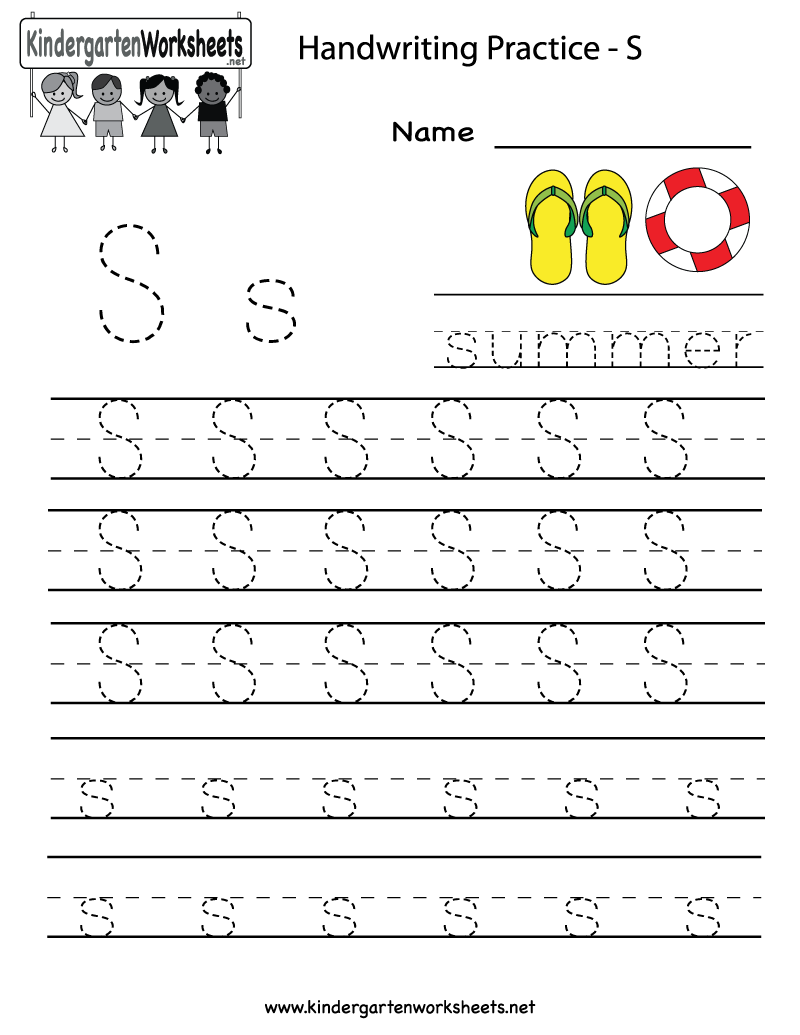 Kindergarten Letter S Writing Practice Worksheet Printable G