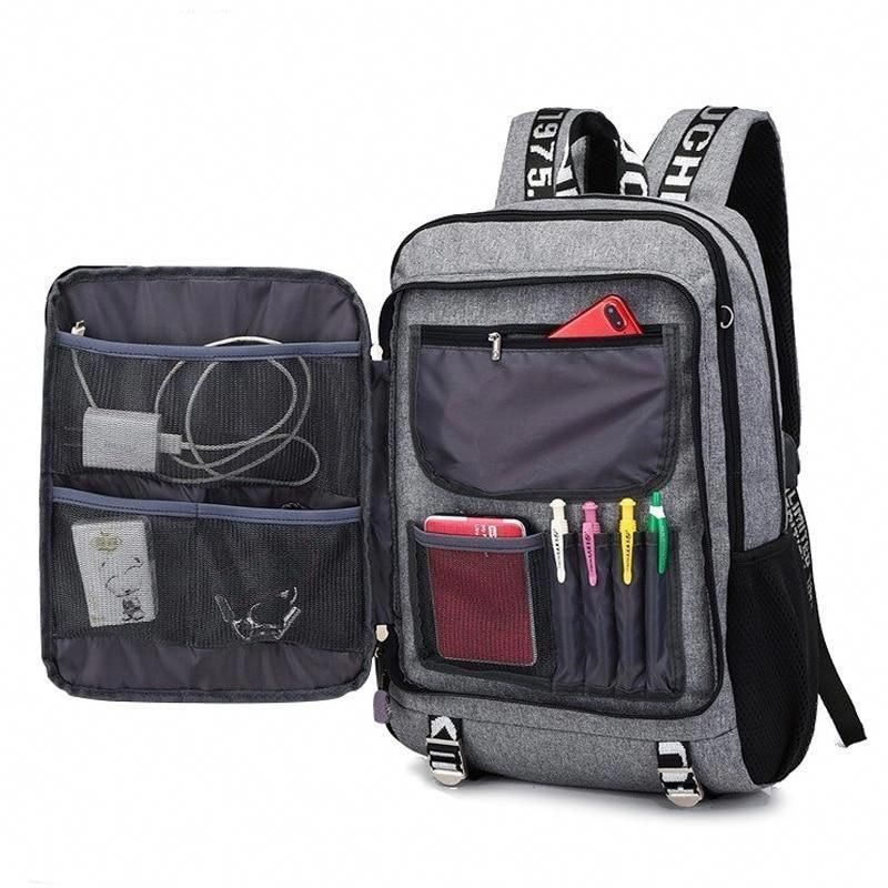 Men USB Backpack Waterproof School Rucksack Shoulder Laptop Bag Travel Bookbag